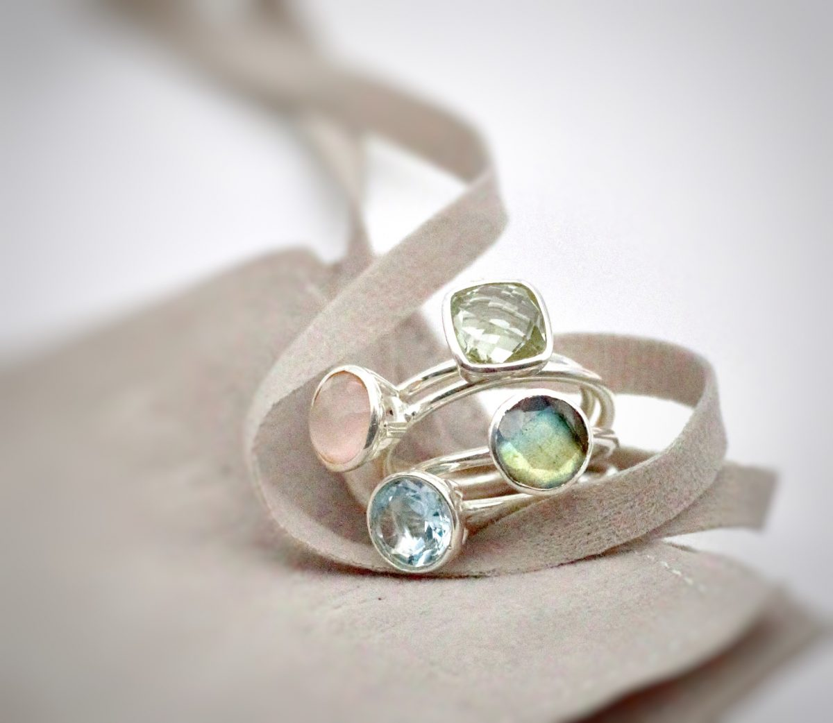 Silver rings. gem jewellery, pink chalcedony stacking ring, sky blue topaz stacking ring, labradorite stacking ring, green amethyst stacking ring.