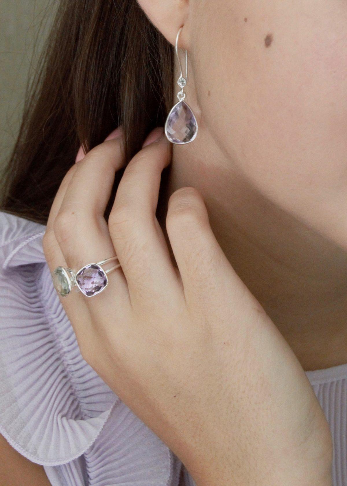 Shakara Jewellery, Bonbon Large 10 mm cushion cut Pink Amethyst gemstone statement ring.
