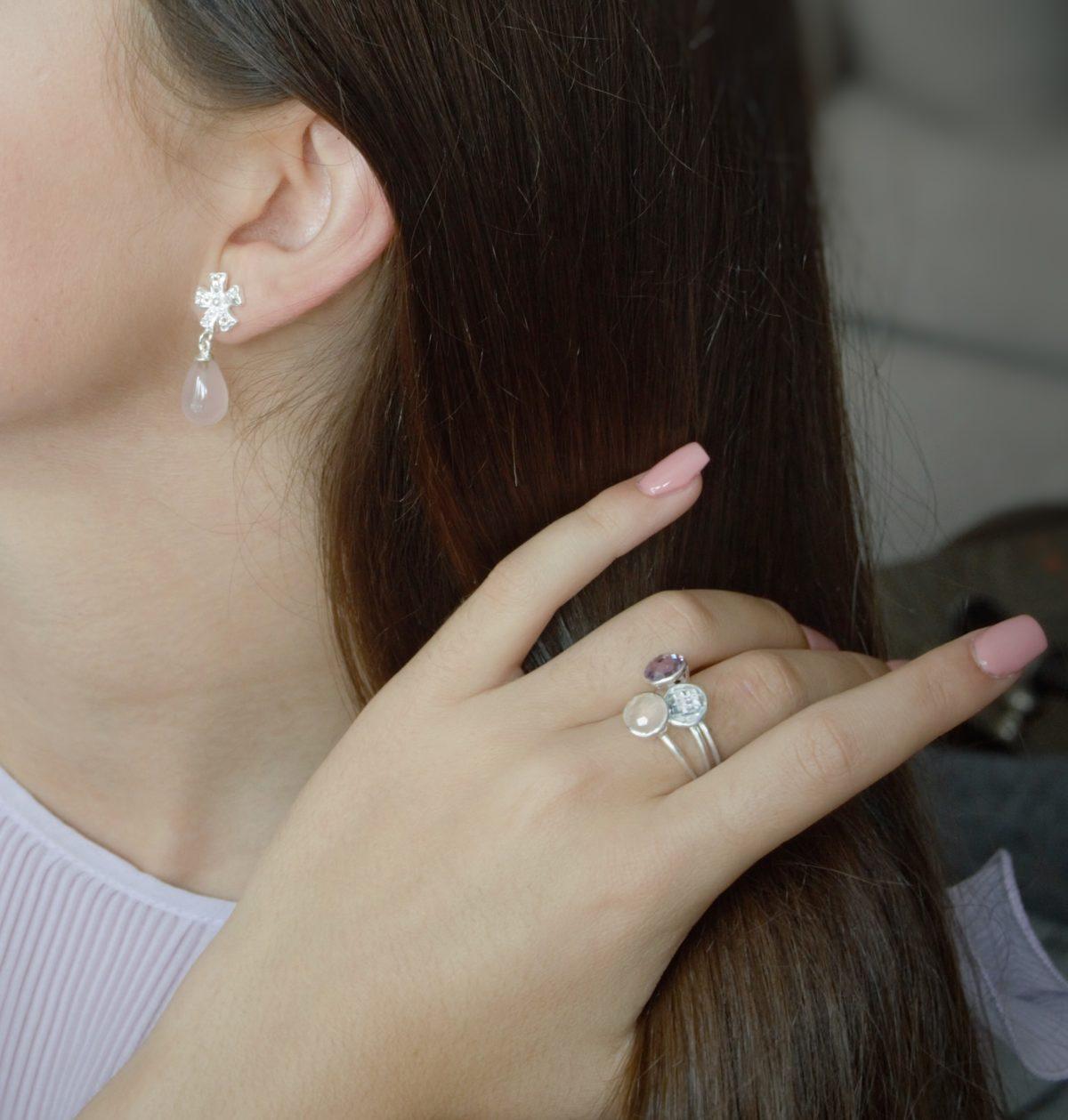 Shakara Jewellery, round Pink Chalcedony stacking ring.
