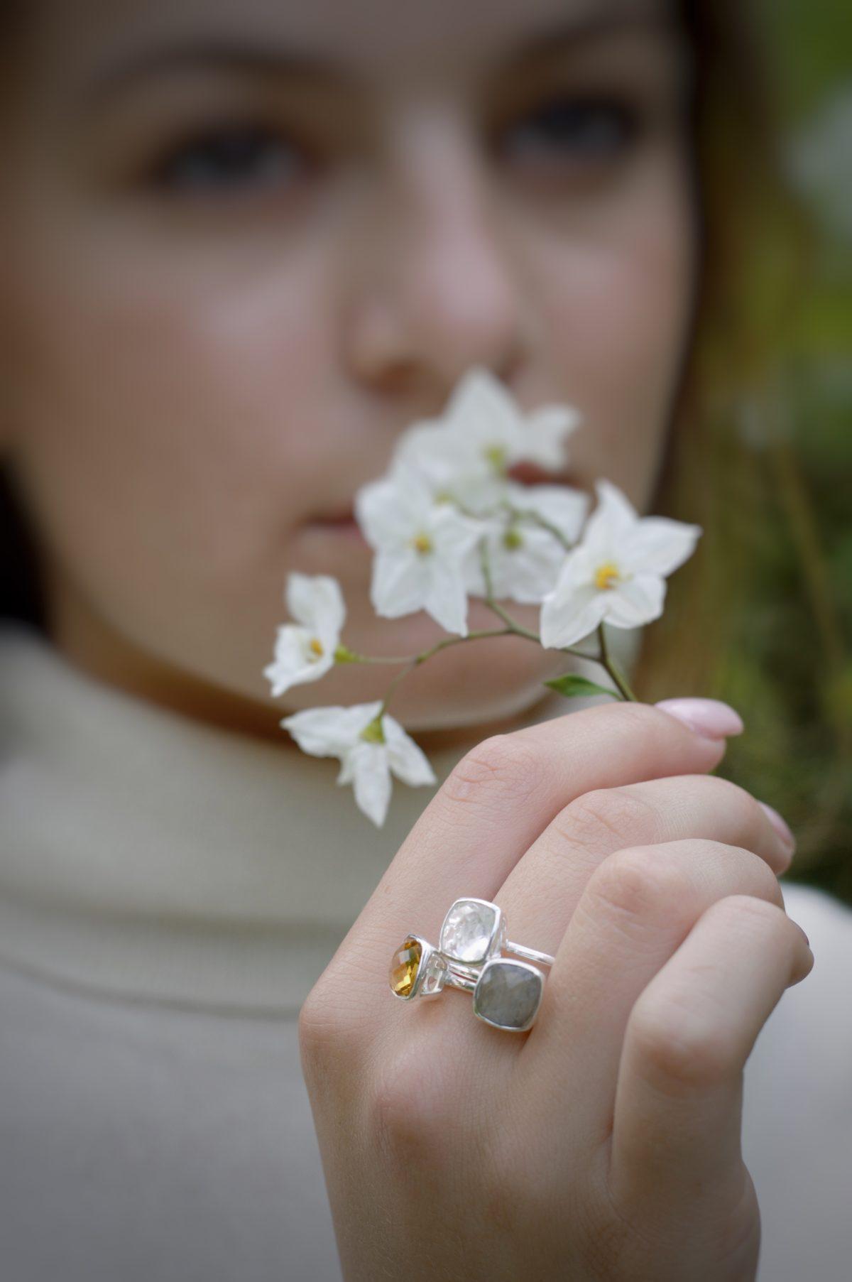 Shakara Jewellery, Bonbon cushion cut gemstone stacking rings.