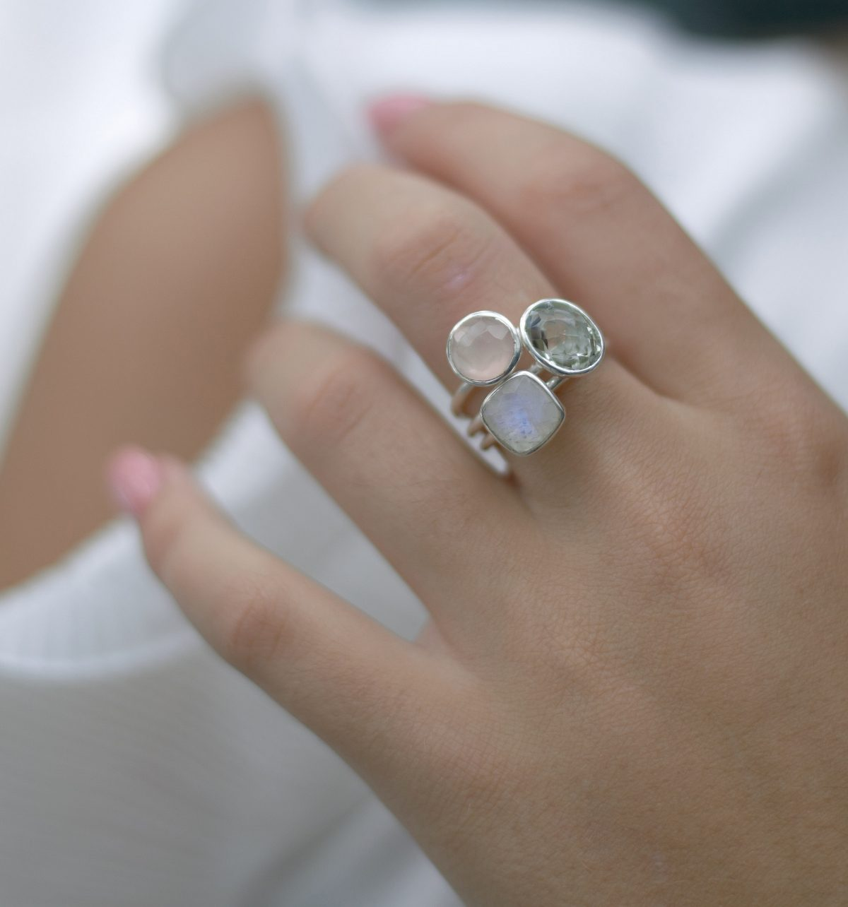 Rainbow Moonstone cushion cut stacking ring. Demi-fine jewellery.
