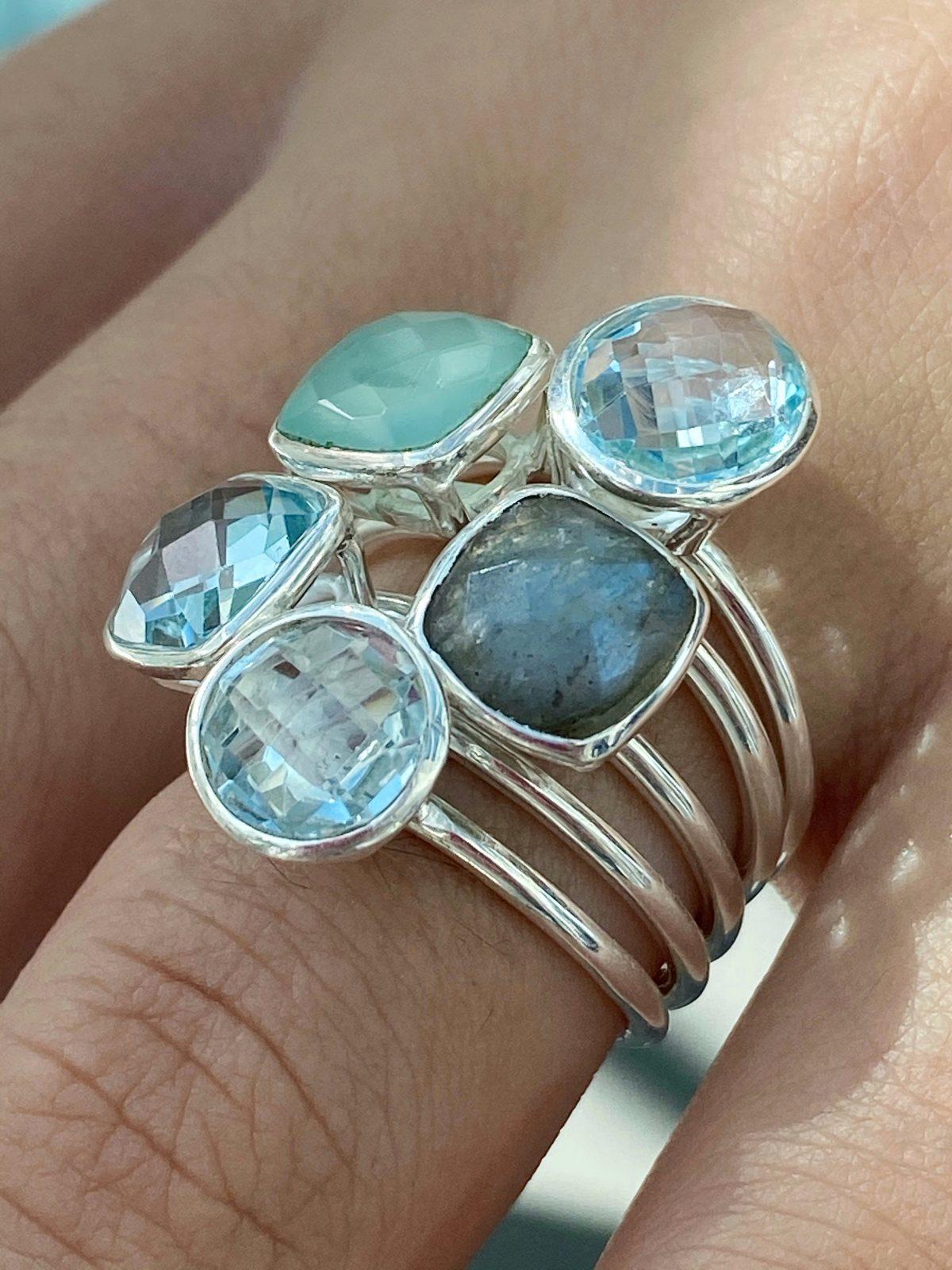 Labradorite stacing ring, cushion cut Labradorite ring. Silver stacking ring.