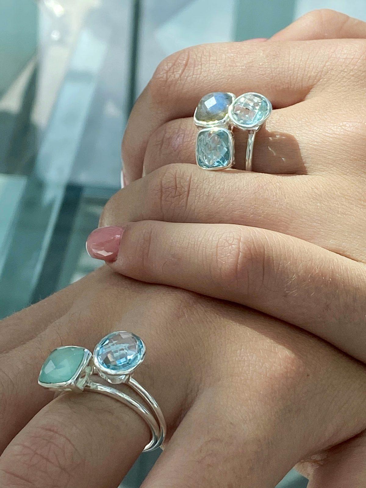 Sky Blue topaz stacking rings.