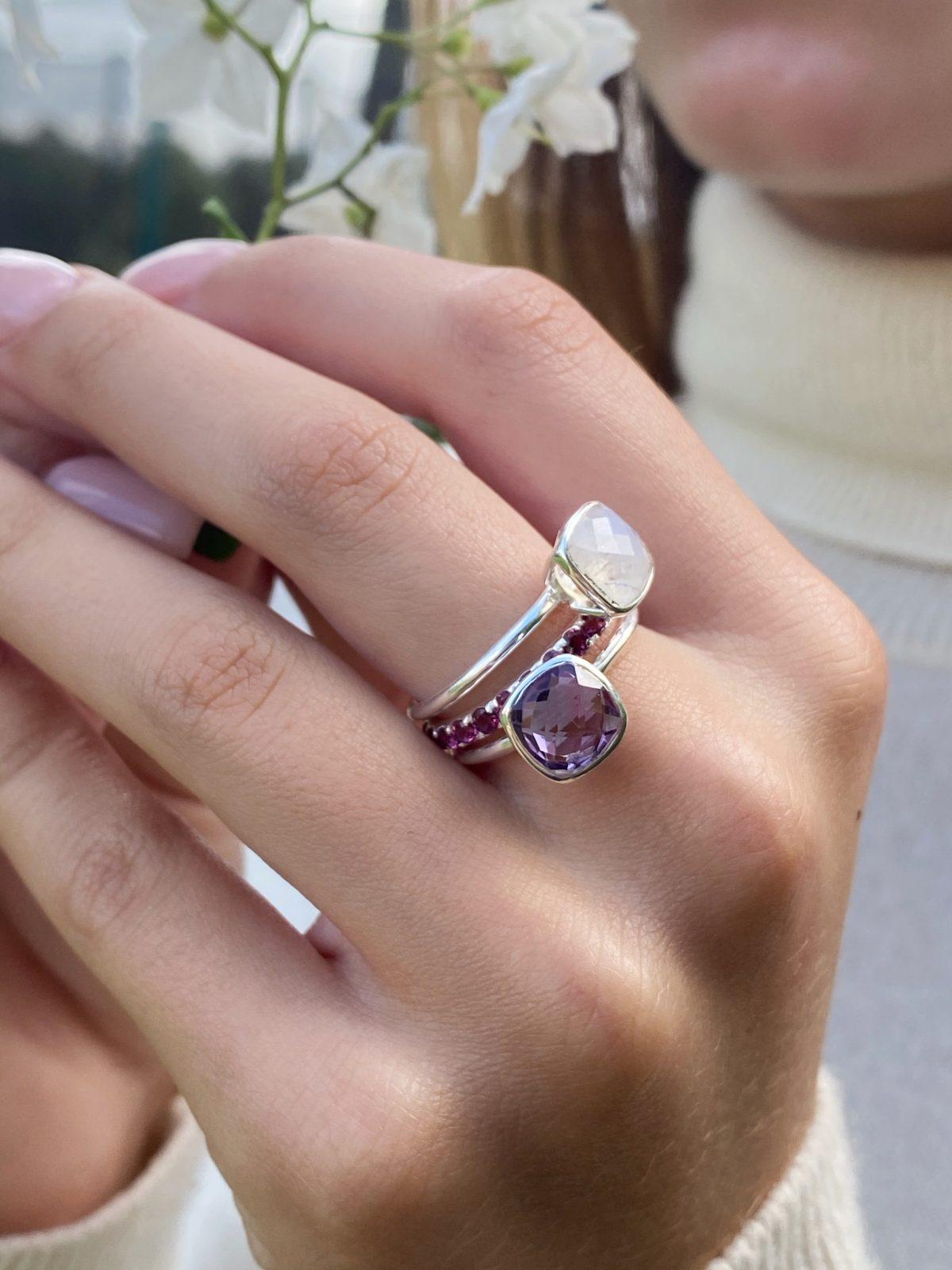 Rainbow Moonstone stacking ring.