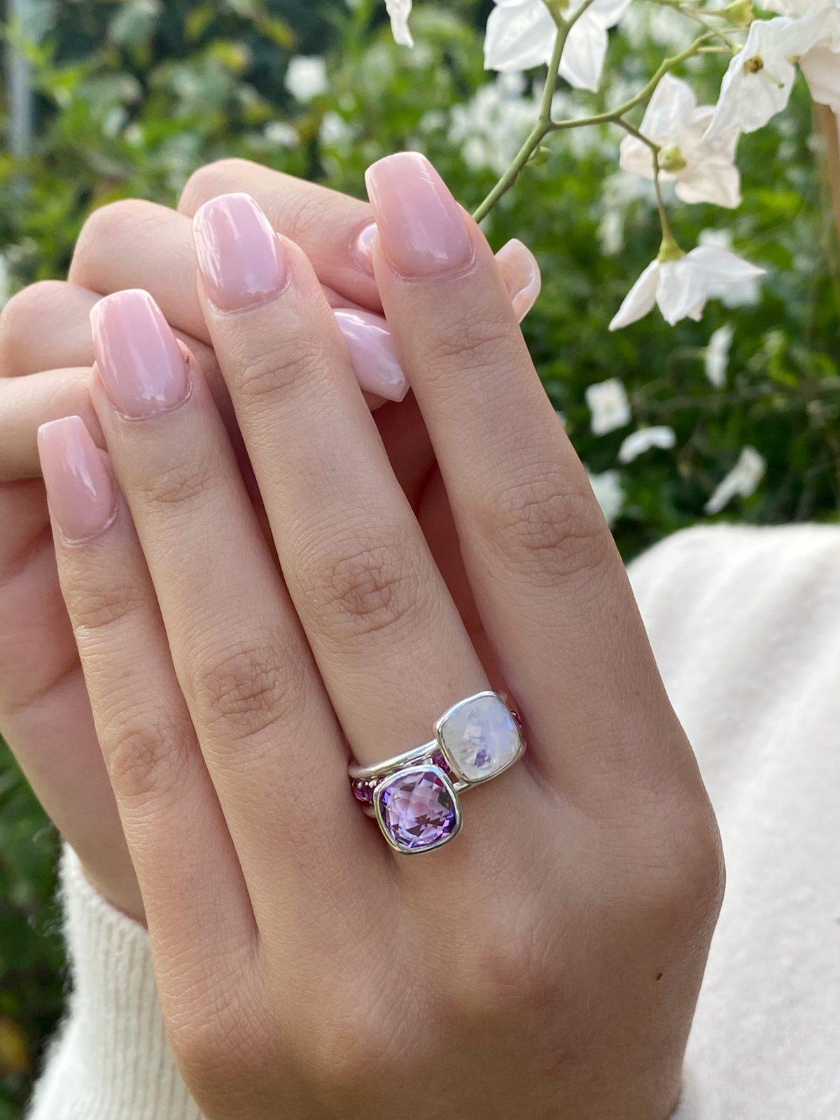 Rainbow Moonstone stacking ring, Cushion cut rainbow moonstone ring, stacking ring.