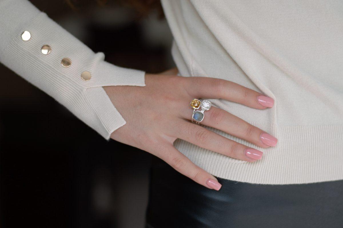 White Topaz cushion cut ring, white topaz stacking ring. Silver stacking rings, labradorite stacking rings, citrine cushion cut ring.
