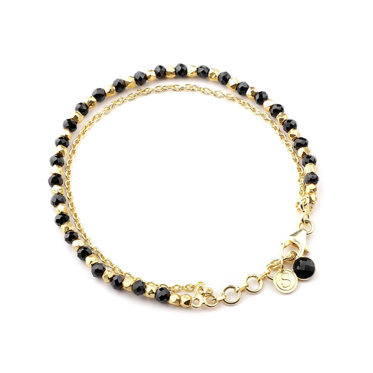 Black Spinel beaded friendship bracelet in gold.