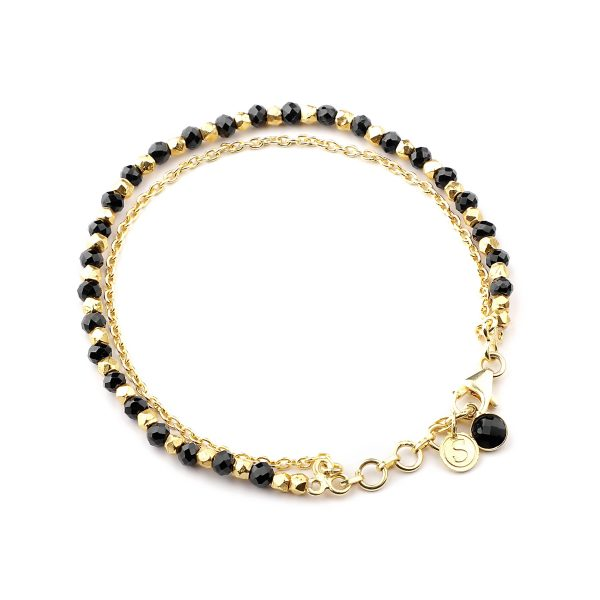 Black Spinel beaded friendship bracelet in gold.