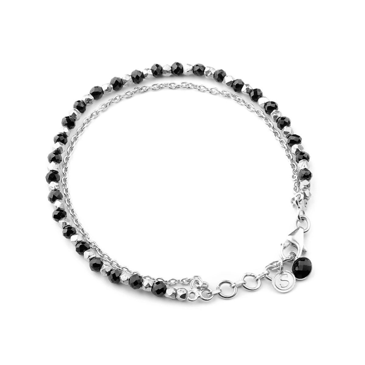 Black Spinel beaded friendship bracelet in silver.