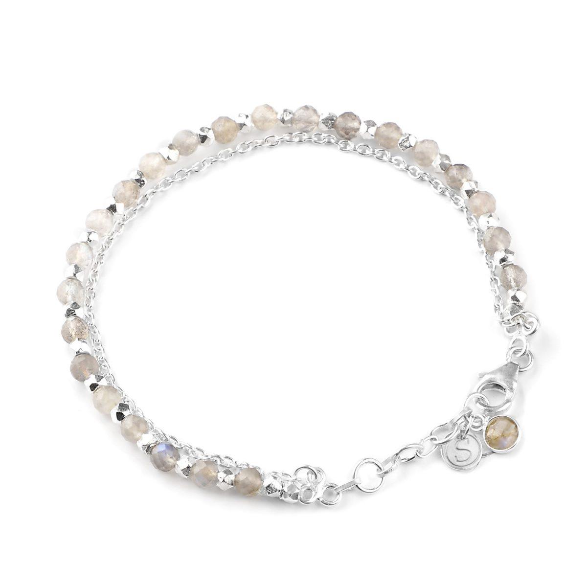 Labradorite beaded friendship bracelet in silver.