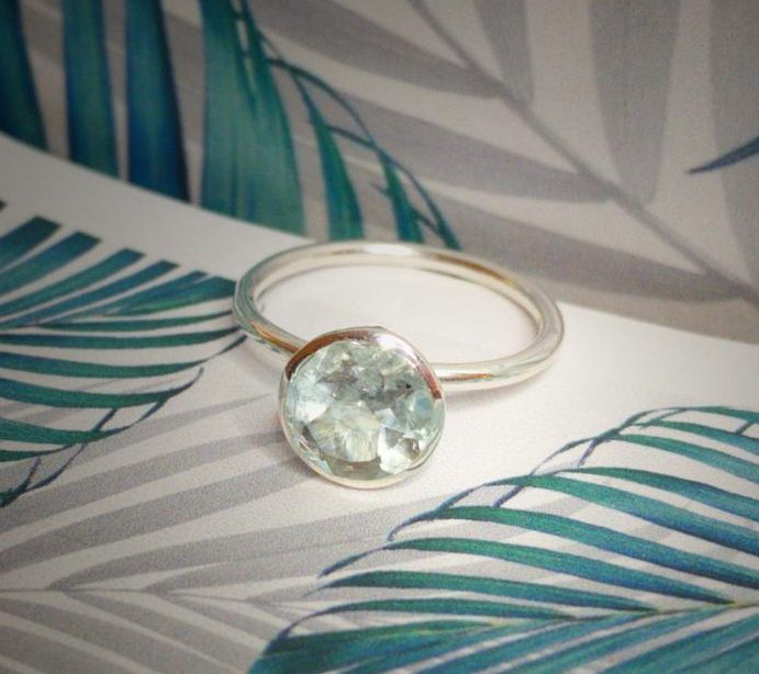 Aquamarine Gem Candy ring 8 mm