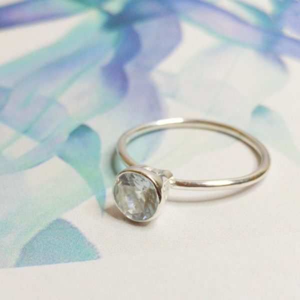 Aquamarine Gem Candy stacking ring small.