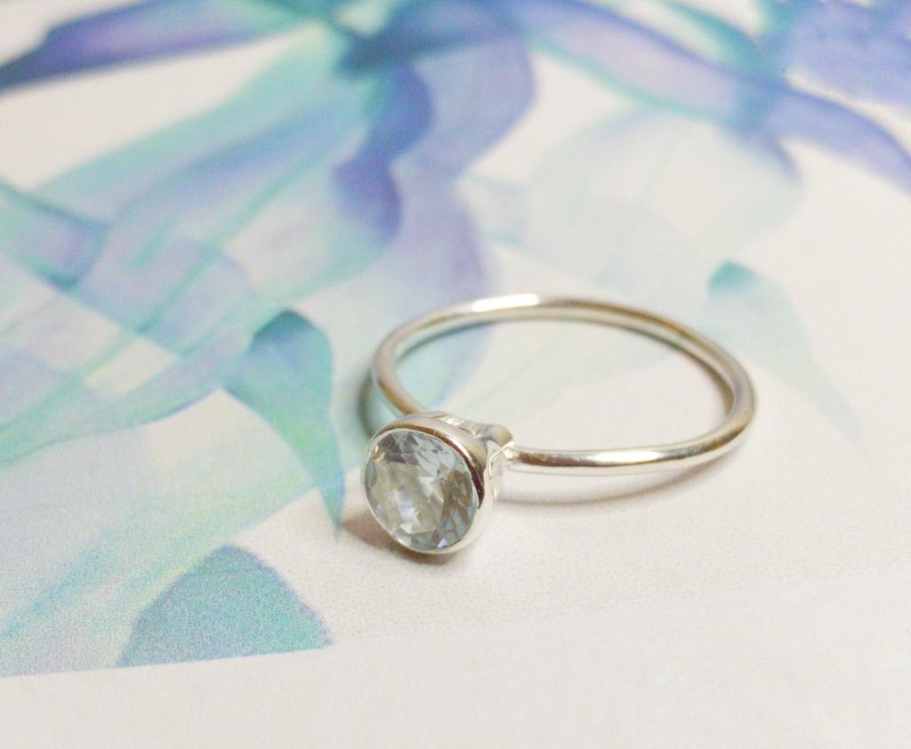 Aquamarine Gem Candy stacking ring small.