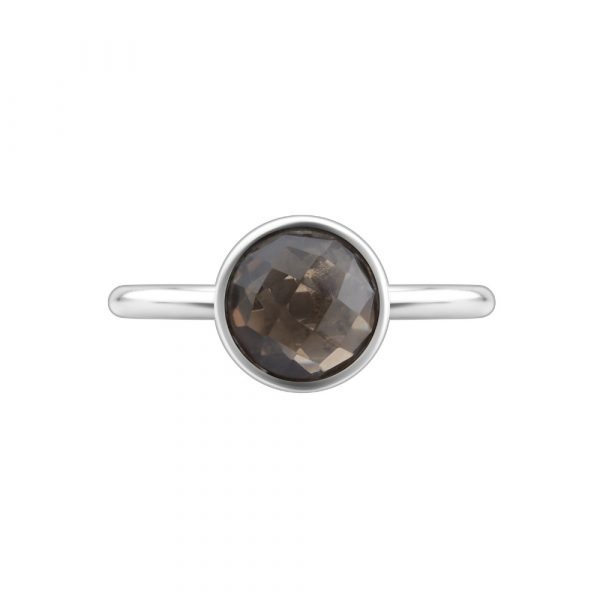 Smokey quartz round cabochon-cut stacking ring.