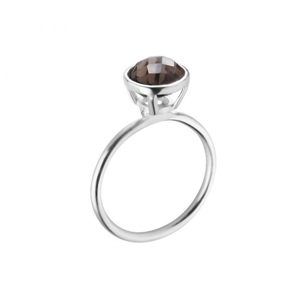 Smokey Quartz round cabochon- cut stacking ring.