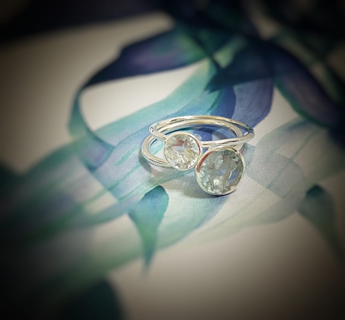 Aquamarine Gem Candy ring 8mm and 6 mm stacking rings.
